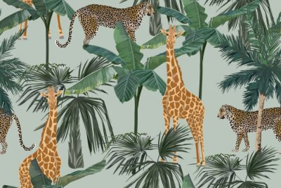 Fototapete Tropical seamless pattern with palm trees, giraffes and leopards. Summer yungle background. Vintage vector illustration. Rainforest landscape