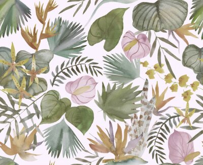 Fototapete Tropical seamless pattern with tropical flowers, banana leaves.  Round palm leaves, watercolor painted
