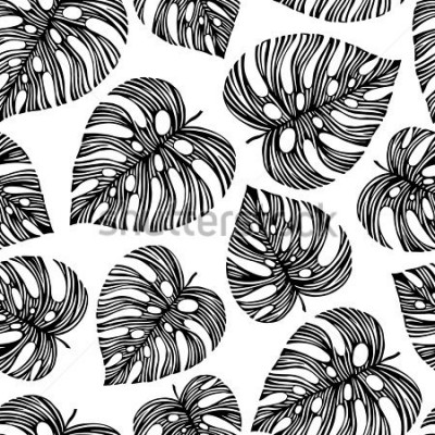 Fototapete Tropical trendy seamless pattern with exotic leaves.