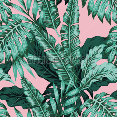 Fototapete Tropical vector green leaves seamless pattern pink background. Exotic wallpaper
