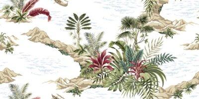 Fototapete Tropical vintage botanical island, seamless pattern white background. Exotic jungle wallpaper.