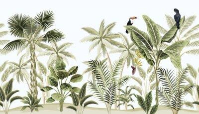 Fototapete Tropical vintage botanical landscape, palm tree, banana tree, plant, black parrot, toucan floral seamless border blue background. Exotic green jungle animal wallpaper.