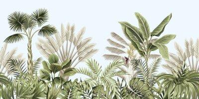 Fototapete  Tropical vintage botanical landscape, palm tree, banana tree, plant floral seamless border blue background. Exotic green jungle wallpaper.