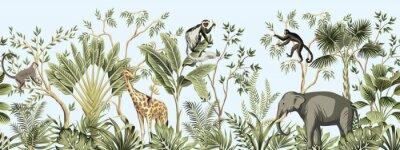 Fototapete Tropical vintage botanical landscape, palm tree, banana tree, plant, palm leaves, giraffe, monkey, elephant floral seamless border blue background. Jungle animal wallpaper.