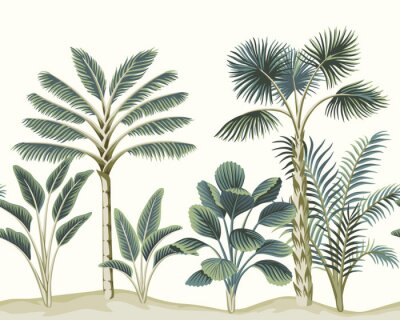 Fototapete Tropical vintage Hawaiian palm trees, banana tree, plant floral seamless pattern white background. Exotic jungle wallpaper.