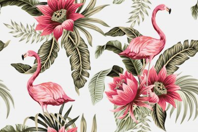 Fototapete Tropical vintage pink flamingo, pink hibiscus, palm leaves floral seamless pattern grey background. Exotic jungle wallpaper.