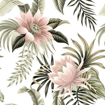 Fototapete Tropical vintage pink lotus, palm leaves, banana leaves floral seamless pattern white background. Exotic jungle wallpaper.
