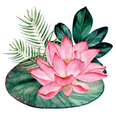 Fototapete Tropical watercolor bouquet and composition