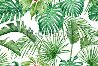 Fototapete Tropische Blätter Monstera, Strelitzia, Palmen. Aquarell nahtlose Muster.