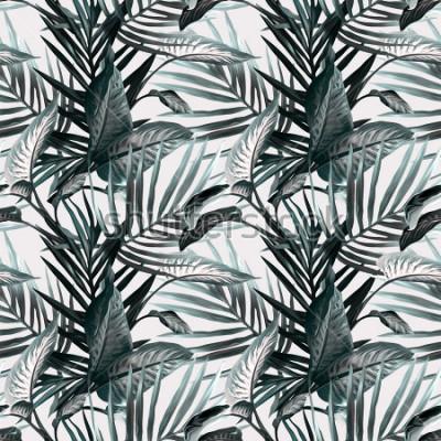 Fototapete Tropische Blätter nahtlose Muster. Künstlerischer Hintergrund.