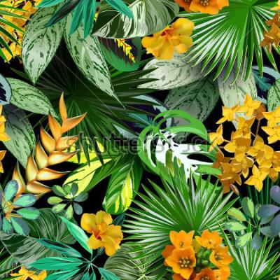 Fototapete Tropische Blätter und Blumen Vectoor, nahtloses Muster für Packpapier, Gewebe, tropischer Hintergrund, Reisedesign, Badekurort, Kosmetik