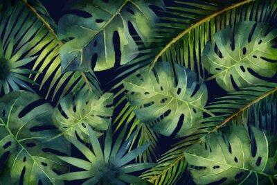 Fototapete Tropische Blätter und Niederlassungen der Aquarellvektorfahne lokalisiert auf dunklem Hintergrund.