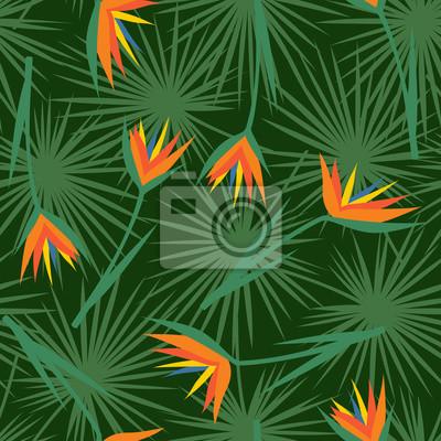 Fototapete Tropische Blumen mit Blättern nahtlose Muster. Grüne Palmblätter Hintergrund mit exotischen Blumen. Dschungel-Illustration. Sommer-Mode-Druck. Nettes Design für Textil, Tapete, Stoff.