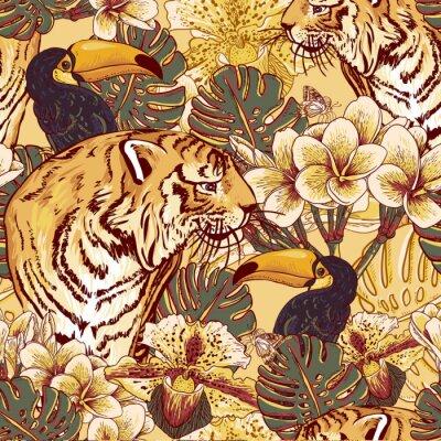 Fototapete Tropische Blumen nahtlose Hintergrund mit Tiger
