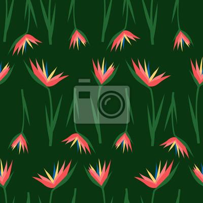 Fototapete Tropische exotische Blumen nahtlose Muster auf dunkelgrünem Hintergrund. Dschungel-Illustration. Sommer-Mode-Druck. Nettes Design für Textil, Tapete, Stoff.