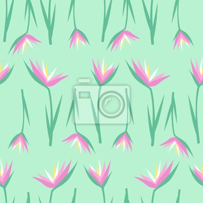 Fototapete Tropische exotische Blumen nahtlose Muster auf Minze grünen Hintergrund. Dschungel-Illustration. Sommer-Mode-Druck. Nettes Design für Textil, Tapete, Stoff.