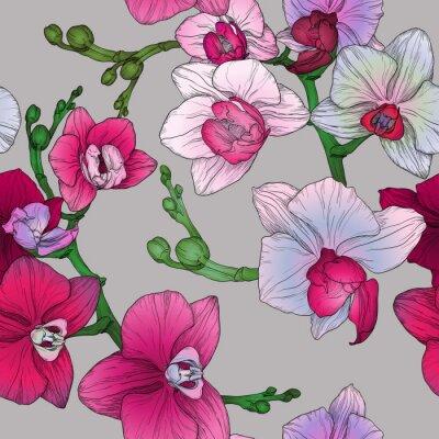 Fototapete Tropische floral nahtlose Muster mit Handzeichnung Orchidee Blumen