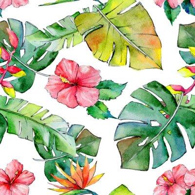 Fototapete Tropische Hawaii verlässt Muster im Aquarellstil. Aquarell wilde Blume für Hintergrund, Textur, Wrapper Muster, Rahmen oder Grenze.