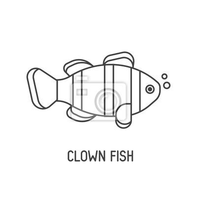 Tropische korallenfisch vektor-symbol. gestreifte clownfisch ...