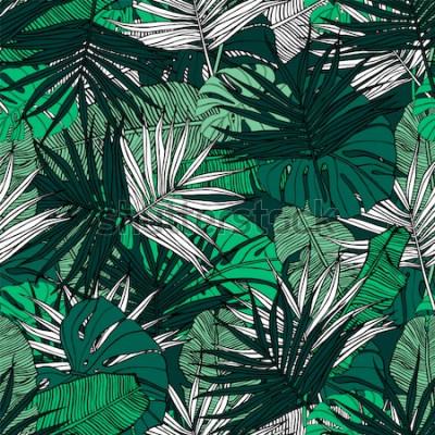 Fototapete Tropische nahtlose Muster. Hand gezeichnete Illustration mit Laub von tropischen Pflanzen. Textur mit Bananenblättern, Palmen und Monstera. Sommer-Vektor-Design.