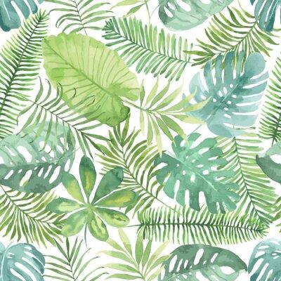 Fototapete Tropische nahtlose Muster mit Blättern. Aquarell-Hintergrund mit tropischen Blättern.