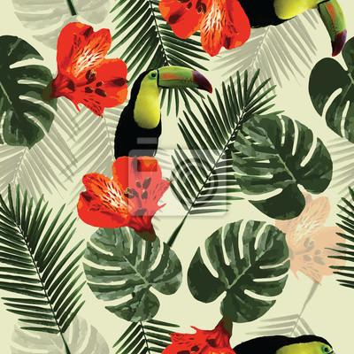 Tropische nahtlose muster mit tukan papagei, blumen und palme ...