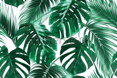 Fototapete Tropische Palmblätter, Dschungel verlässt nahtlosen Vektorblumenmusterhintergrund
