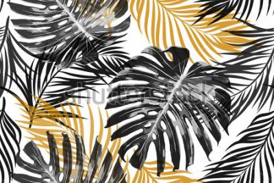 Fototapete Tropische Palmblätter, Dschungelblätter. Schöner nahtloser abstrakter tropischer Blumenmusterhintergrund des Vektors moderner