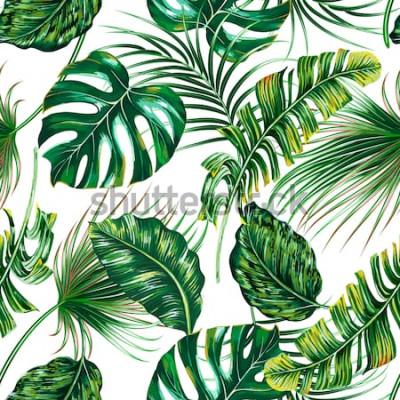 Fototapete Tropische Palmblätter, Monstera, nahtloser Blumensommer-Musterhintergrund des Dschungelblatt-Vektors
