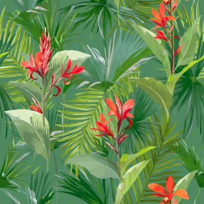 Tropische palmen blätter und blumen, dschungel blätter nahtlose ...