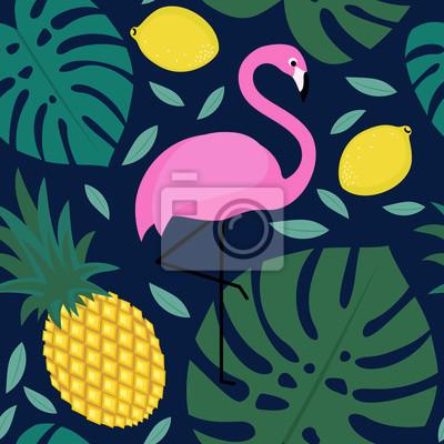 Fototapete Tropische Palmenblätter Muster Mit Früchten Und Exotischen Vogel  Auf Dunkelblauem Background.Fashion Design Für
