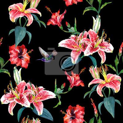 Tropische rosa lilien und rote hibiskusblumen mit einem schwebenden ...