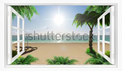 Fototapete Tropische Strandansicht des Meeres vom Fenster