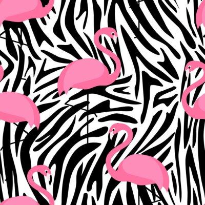 Fototapete Tropische trendy nahtlose Muster mit Flamingos und Zebra-Druck. Exotische Hawaii Kunst Hintergrund. Design für Stoff und Dekor. Sommerart und weisedruck. Rosa Flamingoabbildung. Tierhaut Zebrastreifen