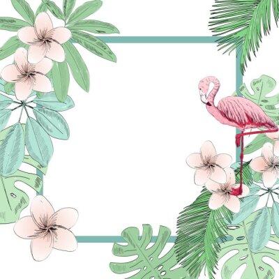 Fototapete Tropische Vektorillustration mit Flamingo und Blumen.