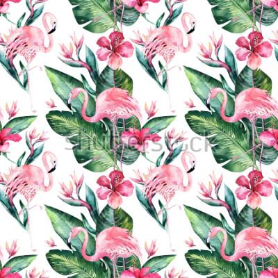 Fototapete Tropischer nahtloser Blumensommermusterhintergrund mit tropischen Palmblättern, rosa Flamingovogel, exotischer Hibiscus. Perfekt für Tapeten, Textildesign und Stoffdruck.
