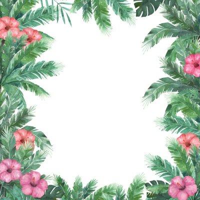 Tropischer rahmen. aquarell palme mit hibiskus. floral vorlage ...