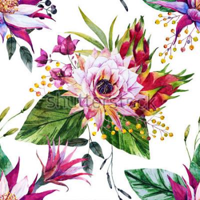 Fototapete tropisches Muster des Aquarells, Kaktusblume, Mexiko, Drachenfrucht, gelbe Beeren