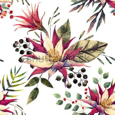 Fototapete tropisches Muster des Aquarells, Kaktusblume, Schwarzweiss-Beeren, Palmblätter, Retro- Farben
