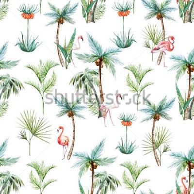 Fototapete tropisches Muster des Aquarells, Palmen und weißer Hintergrund der Flamingos