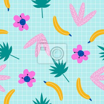 Fototapete Tropisches nahtloses Muster des Sommers. Gezeichnete Illustration des Vektors Hand.