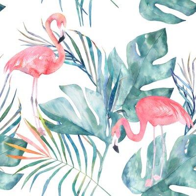 Fototapete Tropisches nahtloses Muster mit Flamingo und Blättern. Aquarell Sommer Print. Exotische handgezeichnete Abbildung