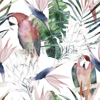 Fototapete Tropisches nahtloses Muster mit Papageien, Protea und Blättern. Aquarell Sommer drucken. Exotische handgezeichnete Abbildung