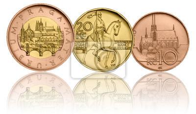 Tschechische Krone Münzen 50 Czk 20 Czk 10czk Fünfzig Kronen