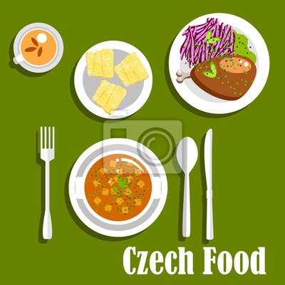 Tschechische Kuche Gerichte Und Dessertkuchen Fototapete