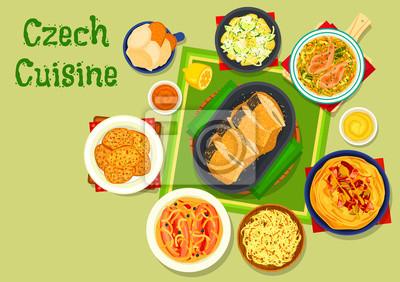 Tschechische Küche | Tschechische Kuche Traditionelle Gerichte Icon Design Fototapete