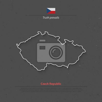Tschechische republik isoliert karte und offizielle flagge symbole ...
