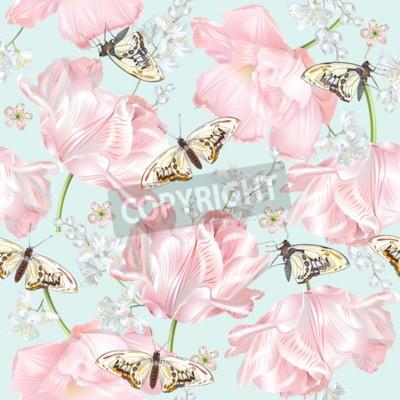 Fototapete Tulip butterfly pattern