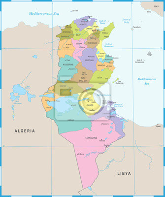 Tunesien Karte.Fototapete Tunesien Karte Ausfuhrliche Vektor Illustration