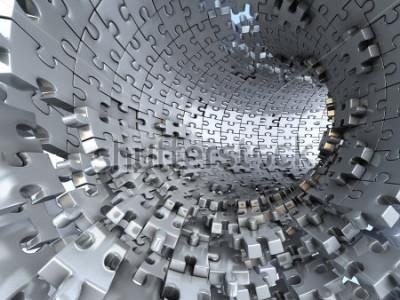 Fototapete Tunnel aus metallischen Puzzles. Konzeptionelle 3d-darstellung,